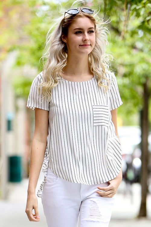 Stripe Pocket Blouse - Shirts - GOZON