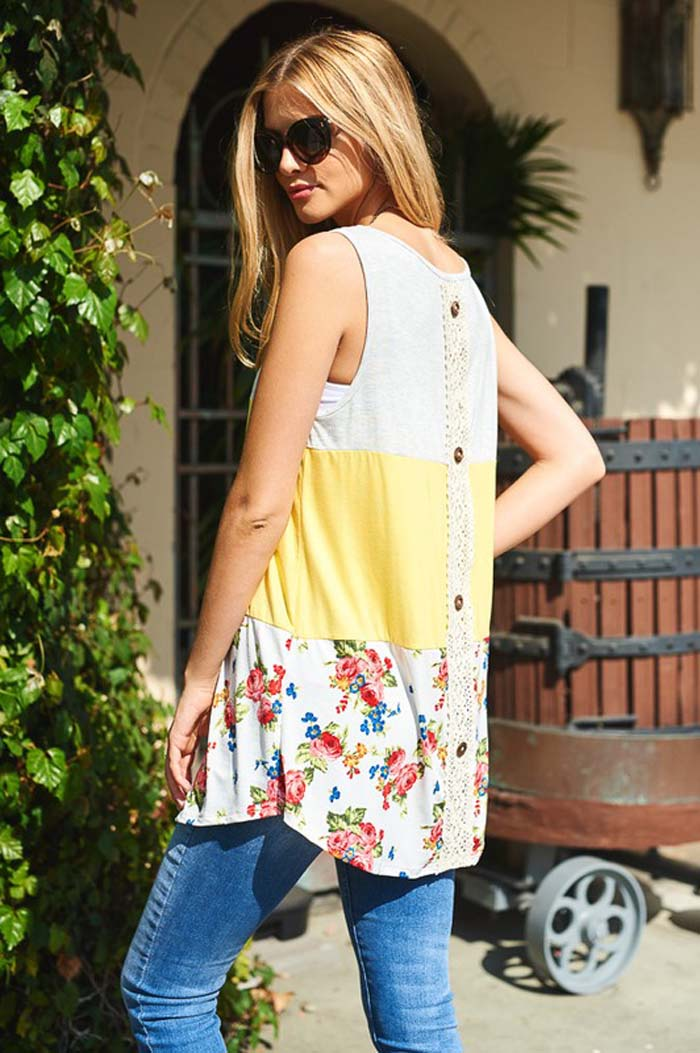 Brittany Placket Back Tunic : Yellow