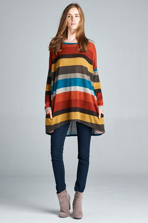 Color Striped Tunic Top - Rust/Brown