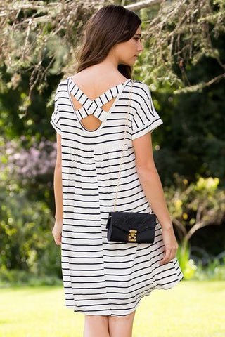 Sydney Stripe Maxi Dress : Ivory/Red