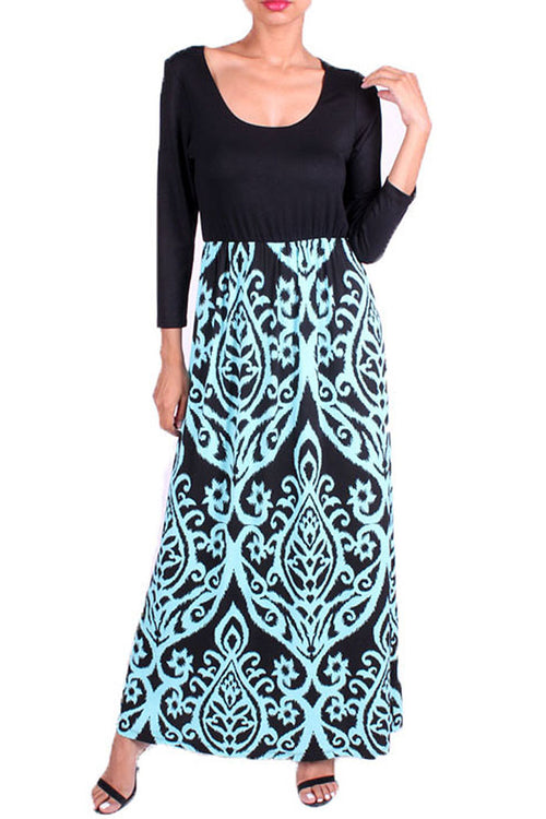 Damask Long Sleeve Maxi Dress