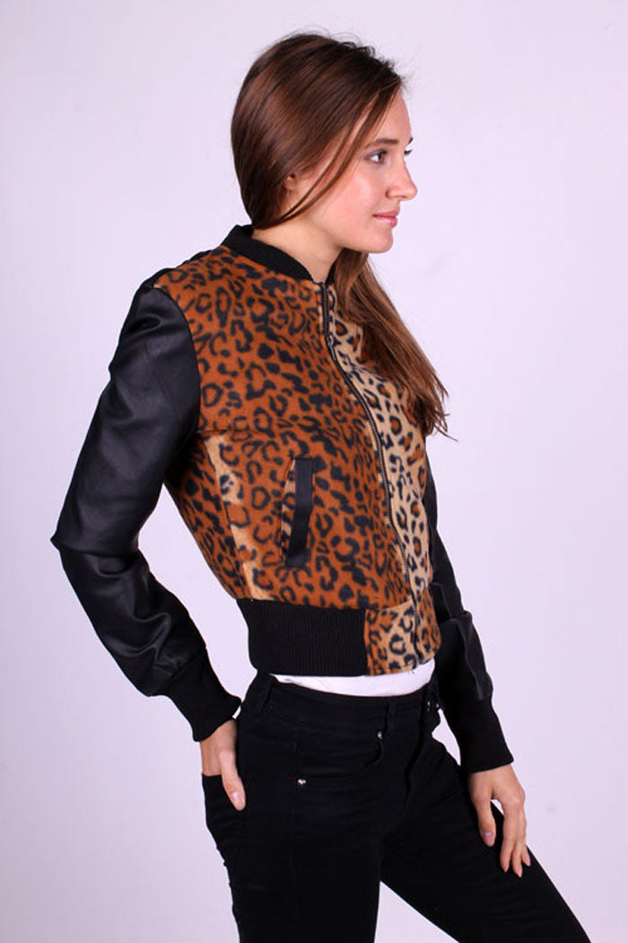 Leopard Zip Up Jacket