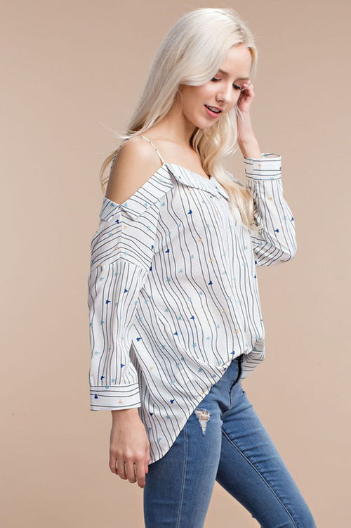 Stripe Cold Shoulder Shirt
