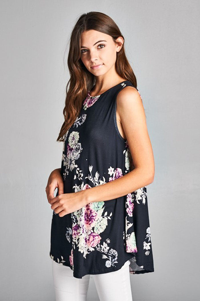 Floral Casual Tank Top - Shirts - GOZON
