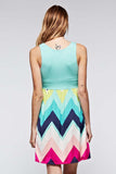 Chevron Print Sleeveless Dress -Plus - Dresses Plus - GOZON