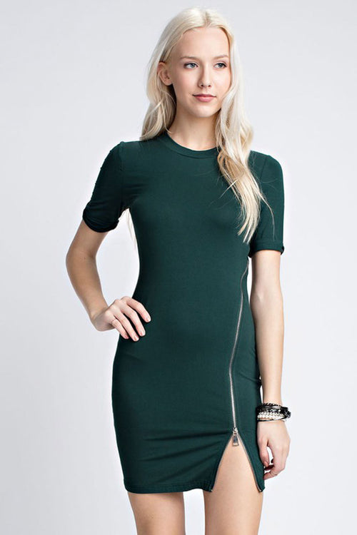 Zip Front Mini Dress - Mini - GOZON