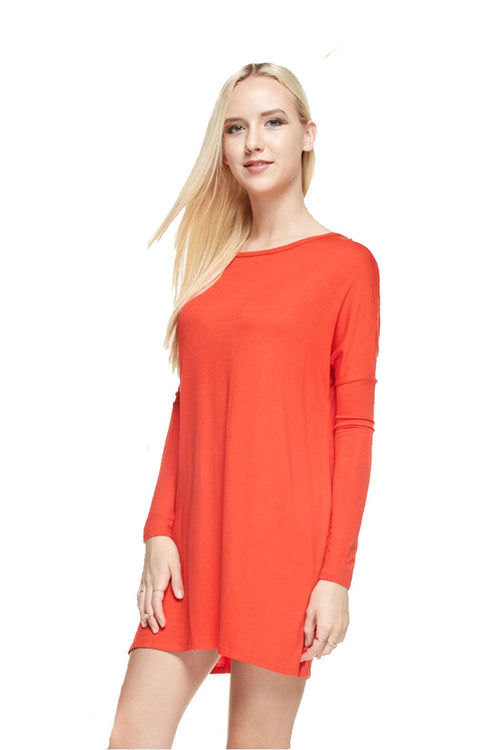 Solid Basic Dress : Orange