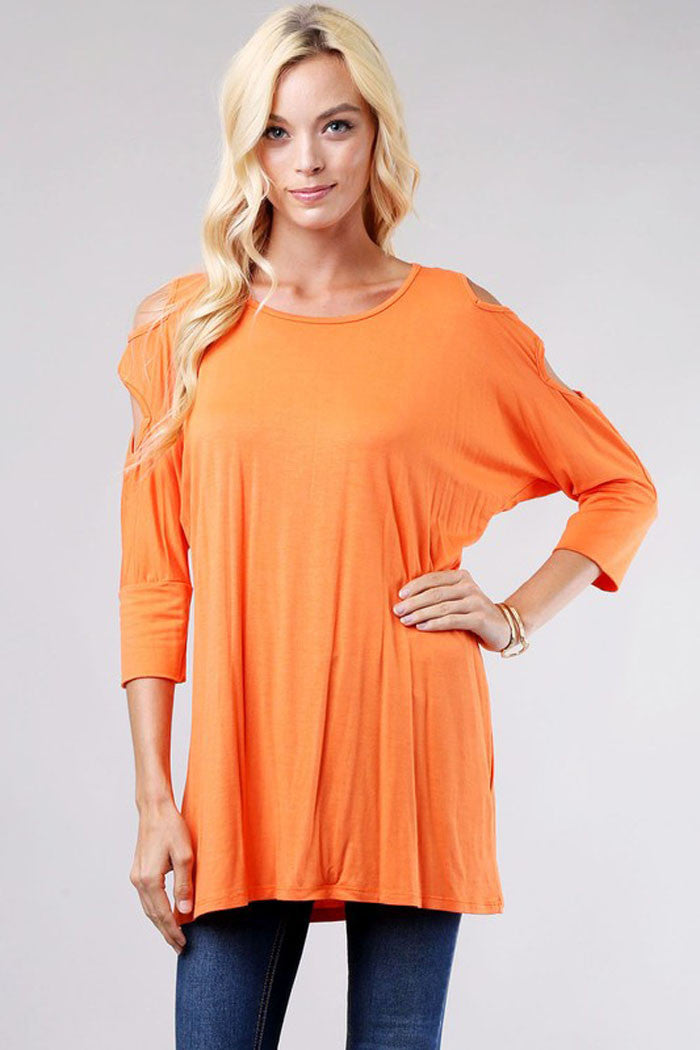 Cold Shoulder Round Neck Top