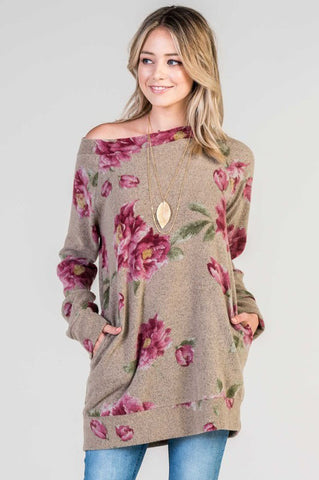 Boat Neck Floral Tunic Top - Mocha