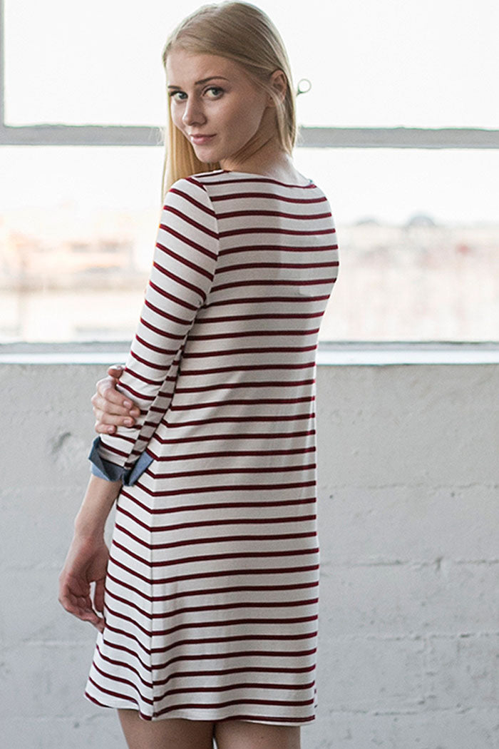 Dana Stripe Contrast Dress : Navy