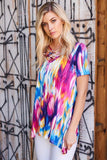 Criss Cross Multi Color Tunic Top - shirts - GOZON