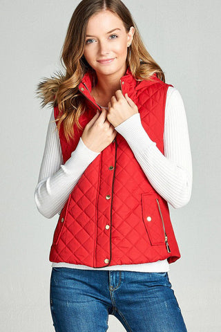 Padding Vest with Fur : Red