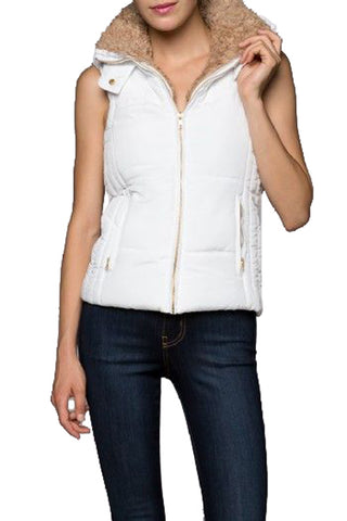 Solid Hooded Vest : White