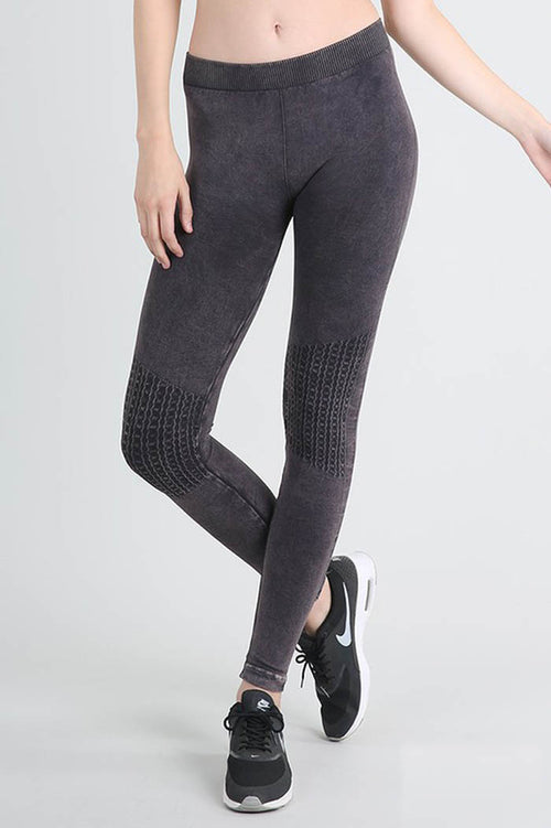 Vintage Knee Long Leggings : Charcoal