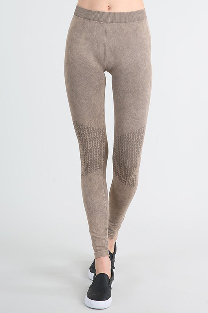 Vintage Knee Long Leggings : Cool grey