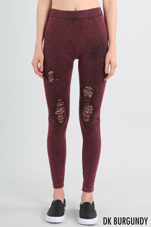 Stacey Modal Destroyed Jeggings : Dark Burgundy