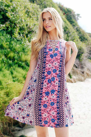Front Ribbed Floral Mini Dress