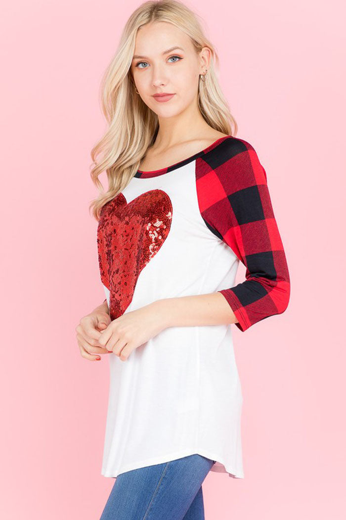 Lindsey Sequins Heart Top : Red