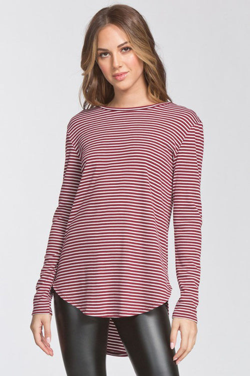 Colleen Stripe Knit Top : Wine/White
