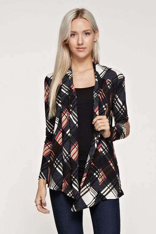 Casual Plaid Cardigan : Black