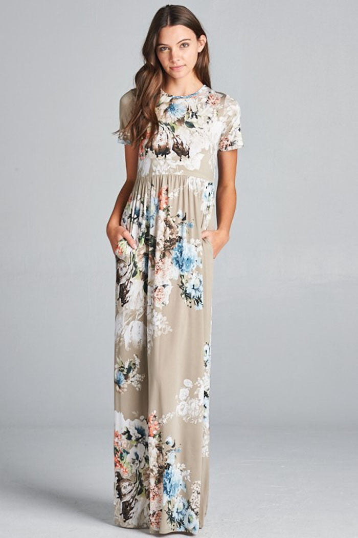 Hidden Pocket Floral Dress - maxi - GOZON