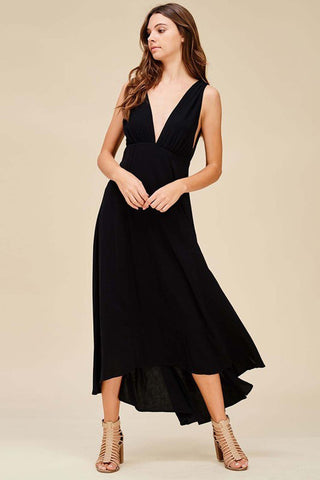 Plunging V-Neck and V-Back Dress - maxi - GOZON