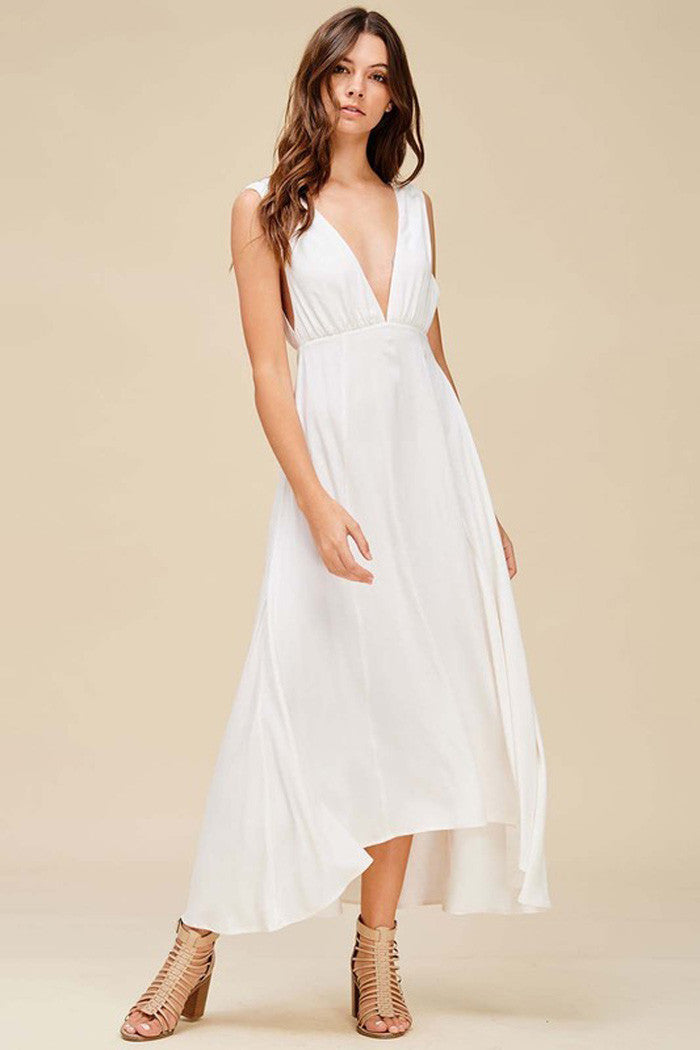 675442ee8a GOZON Women s Solid Plunging V-Neck and V-Back Party Maxi Dress ...