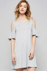 Stripe Ruffle Dress - Mini - GOZON