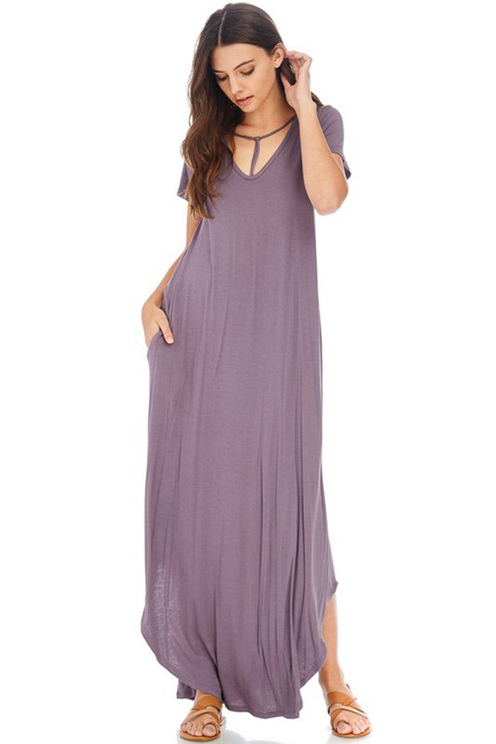T-Strap Neck Dress - Maxi - GOZON