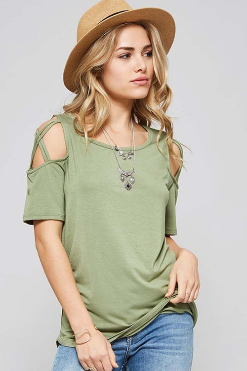 Criss Cross Cold Shoulder Top - shirts - GOZON