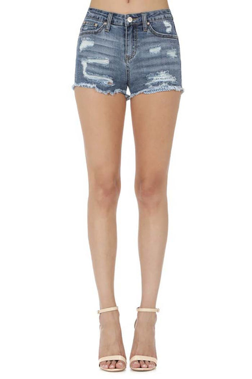Violet Denim Shorts : Medium Blue