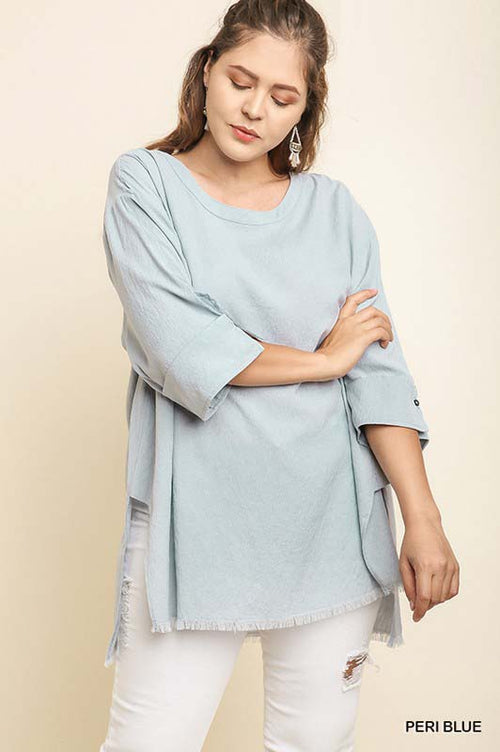 Jocelyn Folded Sleeve Top Plus : Peri Blue