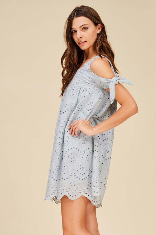 Eyelet Embroidery Dress - Mini - GOZON