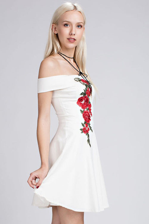 Embroidered Floral Dress - Mini - GOZON