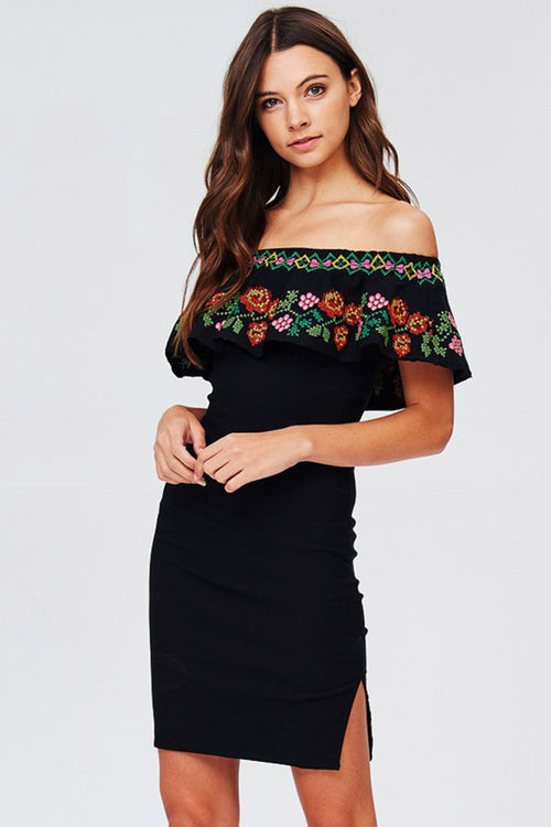 Floral Embroidery Dress - Mini - GOZON