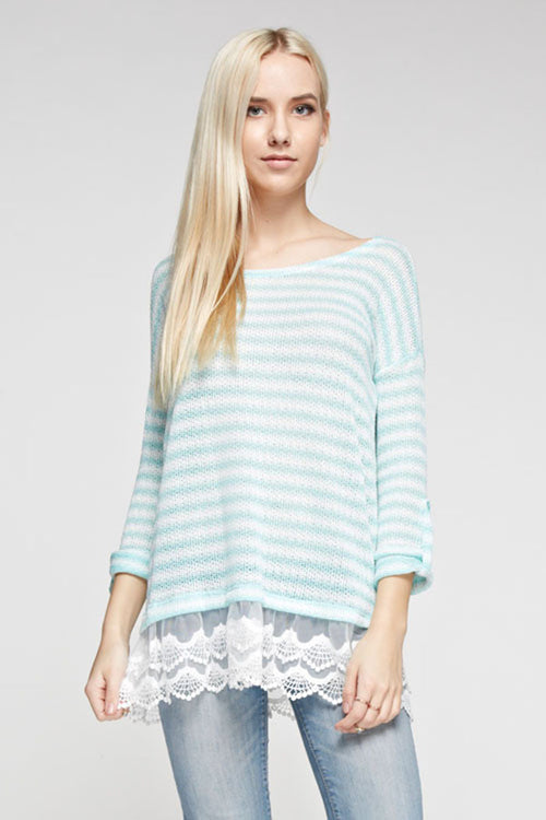 Lace Trim Stripe Top