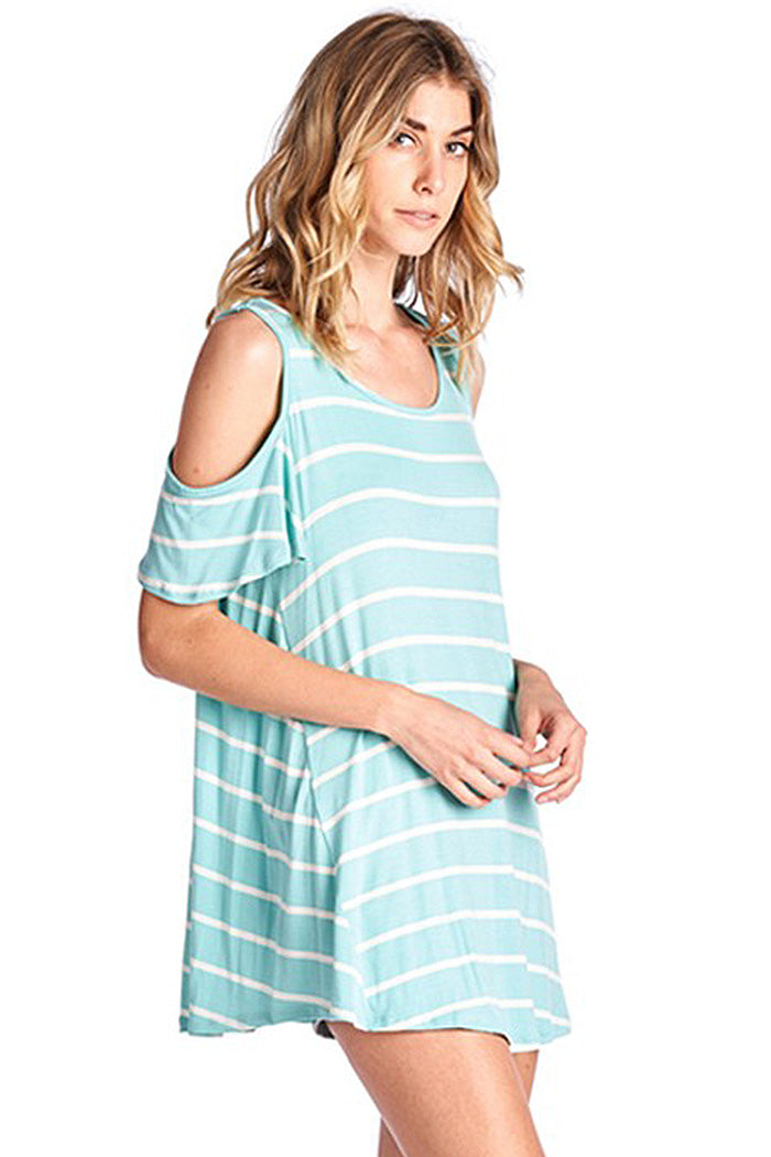 Striped Cold Shoulder Top