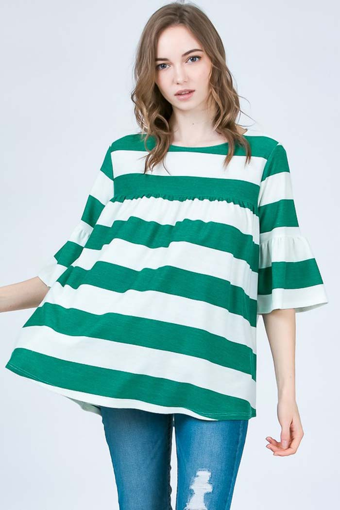 Mary Comfy Tunic Top : Green