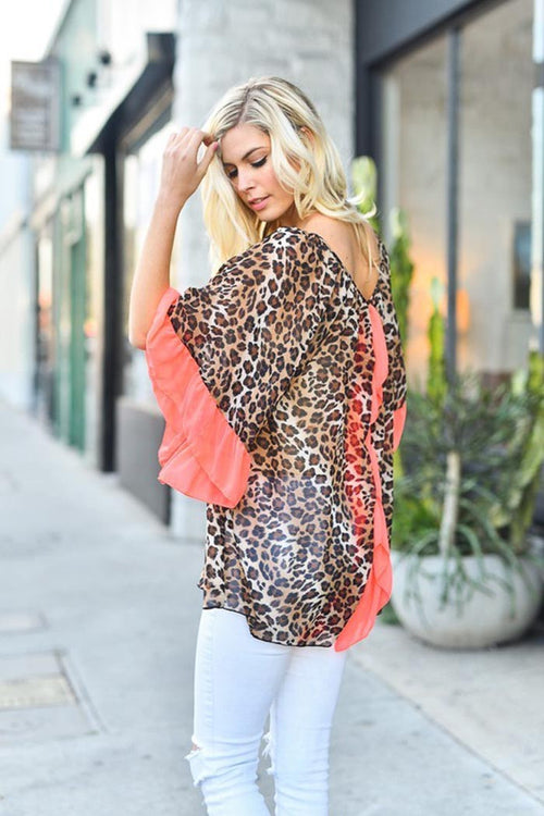 Elegant Leopard Chiffon Top - Plus - Tops plus - GOZON