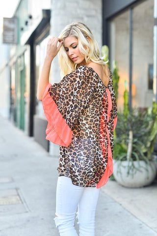 Elegant Leopard Chiffon Top - Plus