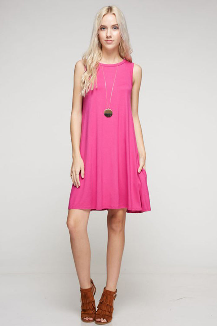 Lindsey Essential Dress Plus : Hot Pink