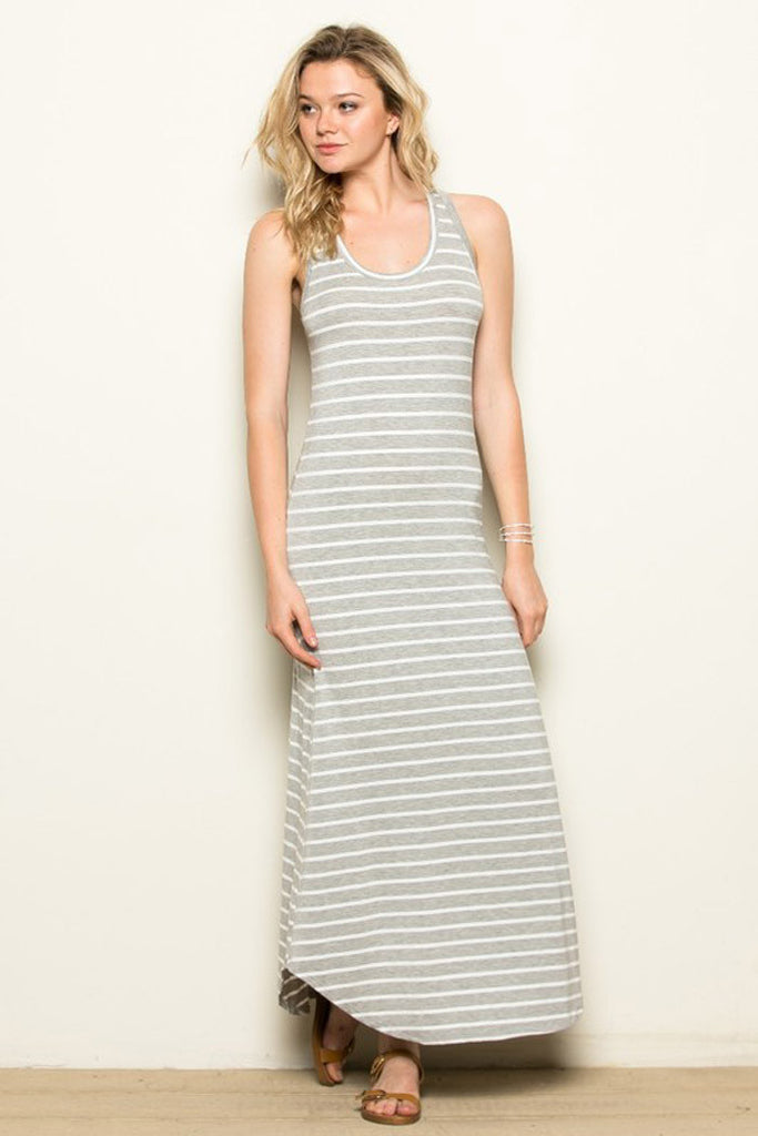 Stripe Back Crossed Strap Maxi Dress - maxi - GOZON