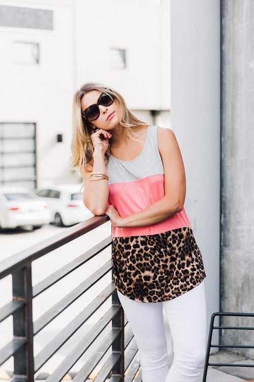 Casual Color Block Leopard Top - Shirts - GOZON
