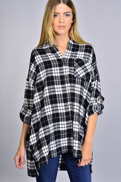 Ella Loose Plaid Shirt : Black/White