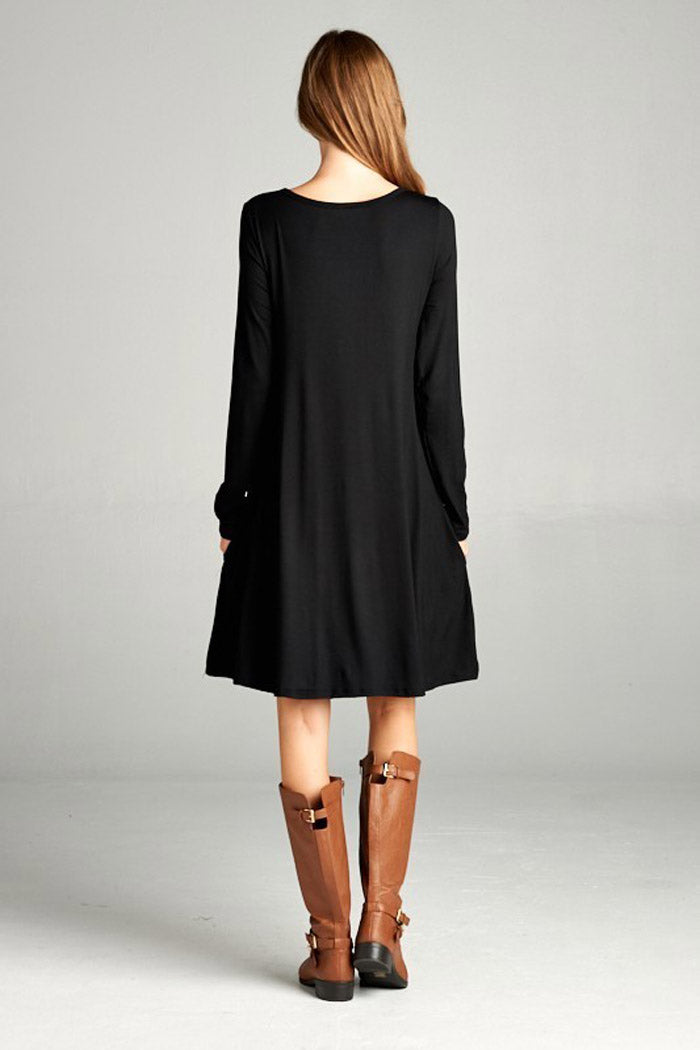 9caf29d3745 GOZON Women s Long Sleeve Solid Mini Swing Dress with Pocket – GOZON ...