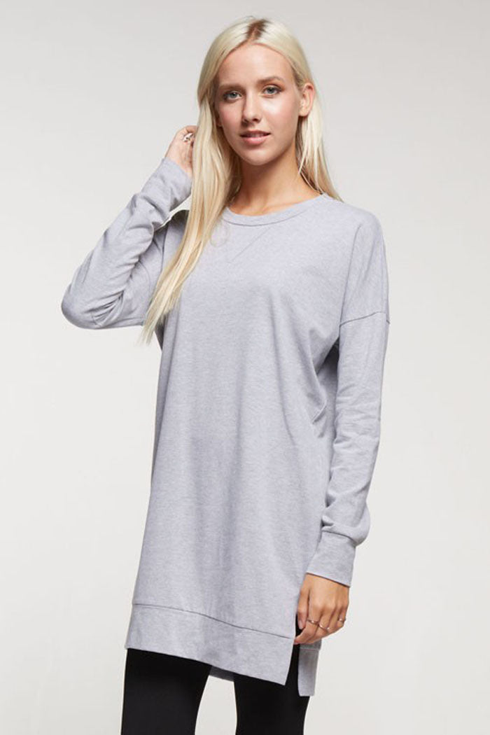 Essential Solid Tunic Top : Heather grey