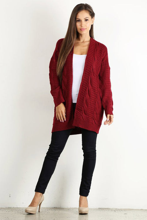 Cable Knit Open Cardigan : Burgundy