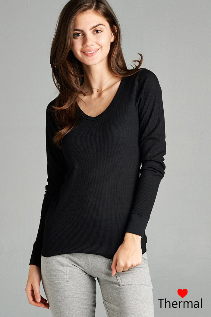 V-Neck Thermal Top : Charcoal grey