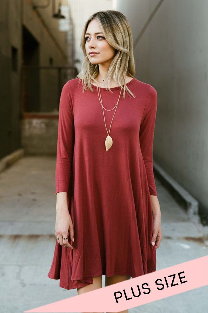 Comfy Solid Midi Dress : Marsala