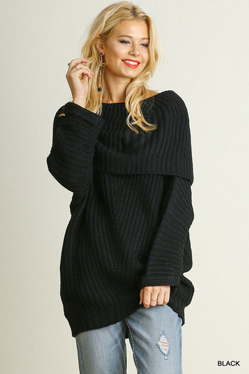 Fold Over Ribbed Sweater : Black